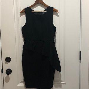 Lulus Asymmetrical Peplum Dress Black NWT Medium